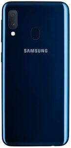Galaxy a20e bleu dos